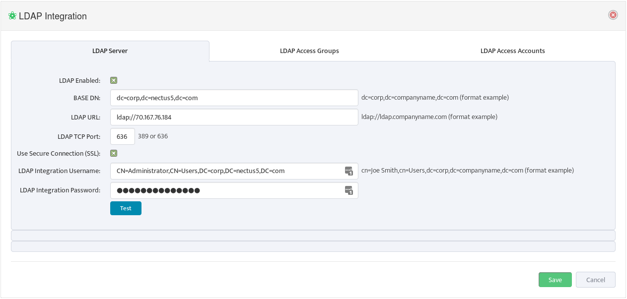 Configuring AD LDAP Integration for User Authentication - Network